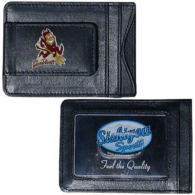 Arizona State Sun Devils Fine Leather Money Clip (NCAA) Card & Cash Holder (Mascot)