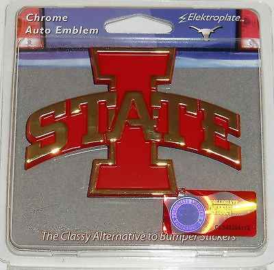 Iowa State Cyclones Chrome Metal Auto Emblem (Gold & Red I-State) NCAA