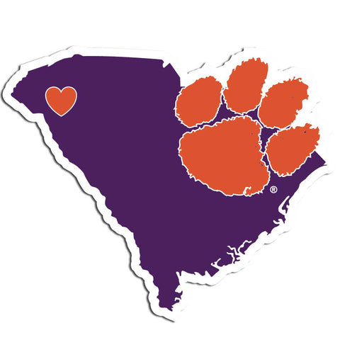 Clemson Tigers Home State Vinyl Auto Decal (NCAA) South Carolina Shape