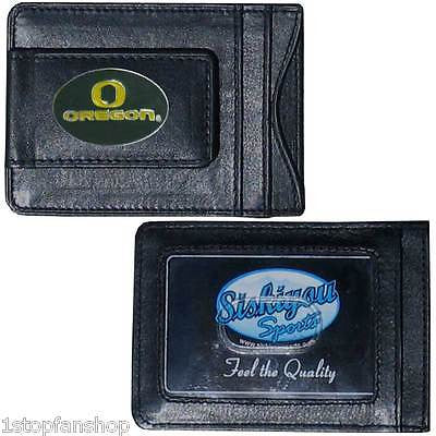 Oregon Ducks Fine Leather Money Clip Licensed NCAA Card & Cash Holder