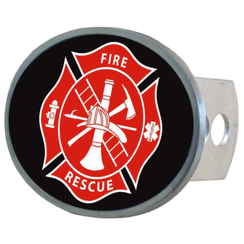 Firefighter Metal Oval Hitch Cover (Maltese Cross) Fire Rescue