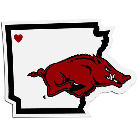 Arkansas Razorbacks Home State Vinyl Auto Decal (NCAA) Arkansas Shape