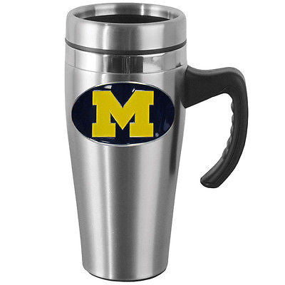 Michigan Wolverines 14 oz Stainless Steel Travel Mug with Handle (NCAA)