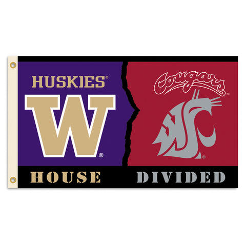 Washington Huskies Washington State Cougars 3' x 5' House Divided Flag NCAA