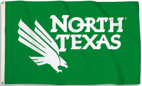 North Texas Mean Green 3' x 5' Flag (Logo on Green) NCAA