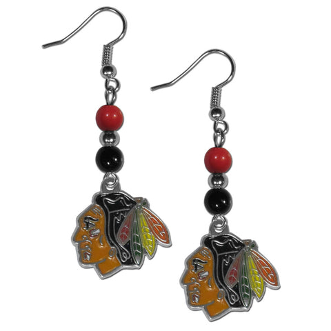 Chicago Blackhawks Dangle Earrings (Fan Bead) NHL Licensed Jewelry