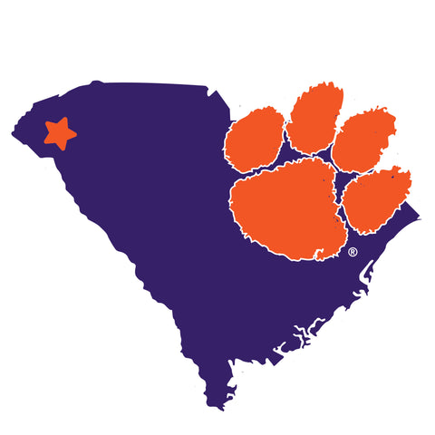 Clemson Tigers Home State Magnet (NCAA) South Carolina Shape