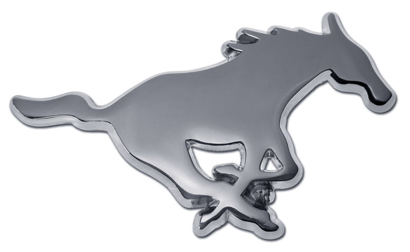 SMU Mustangs Chrome Metal Auto Emblem (Mustang) NCAA