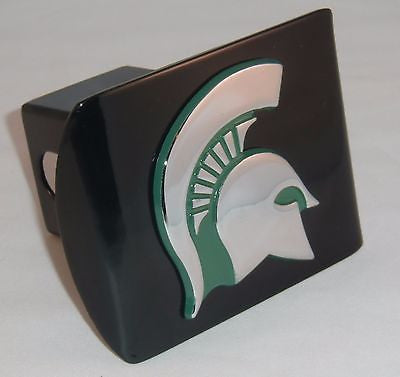 Michigan State Spartans Chrome Metal Black Hitch Cover (Green Spartan) NCAA