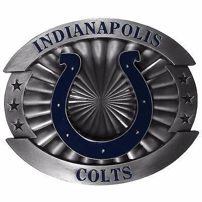 "Indianapolis Colts Over-sized 4"" Pewter Metal Belt Buckle (NFL)"