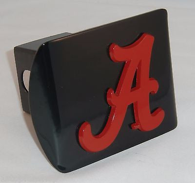 "Alabama Crimson Tide Chrome Metal Black Hitch Cover (Crimson ""A"") NCAA"