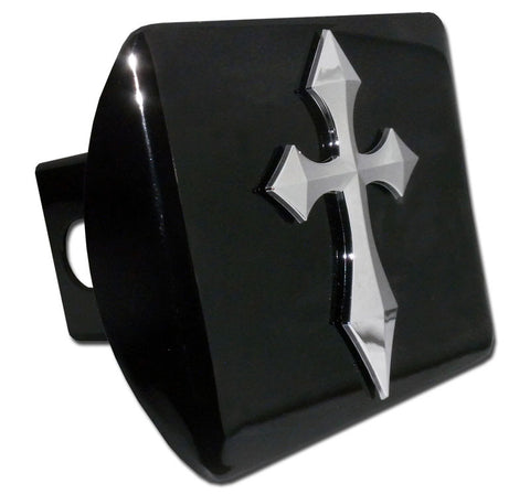Cross Chrome Metal Black Hitch Cover (Pointed)