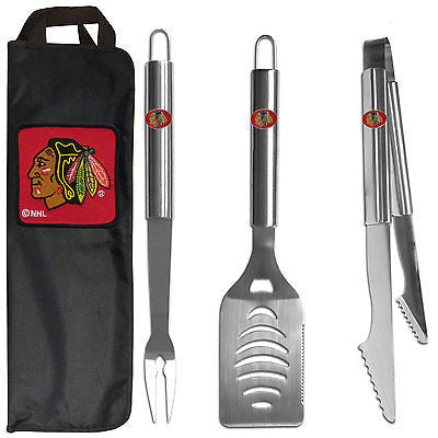 Chicago Blackhawks 3 Piece Stainless Steel BBQ Set with Canvas Bag (NHL)
