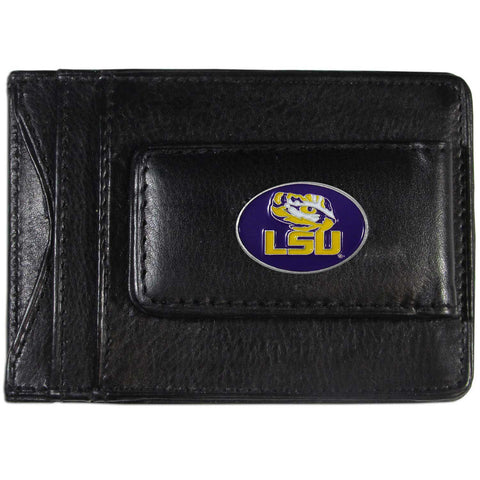 LSU Tigers Fine Leather Money Clip (NCAA) Card & Cash Holder