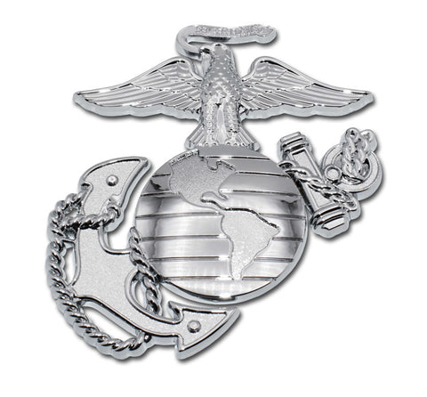 U.S. Marine Corps Chrome Metal Auto Emblem (Insignia with Detail)
