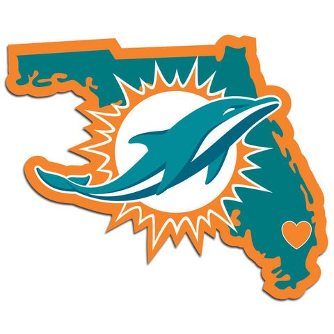 Miami Dolphins Home State Vinyl Auto Decal (NFL) Florida Shape
