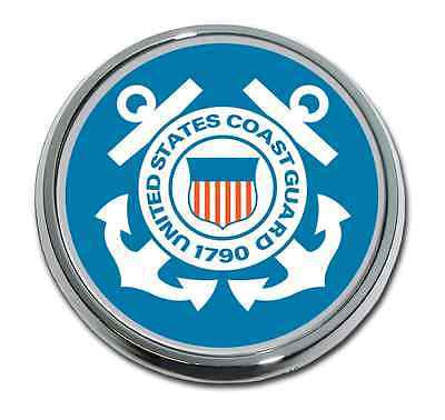 U.S. Coast Guard Chrome Metal Auto Emblem (Blue Seal)