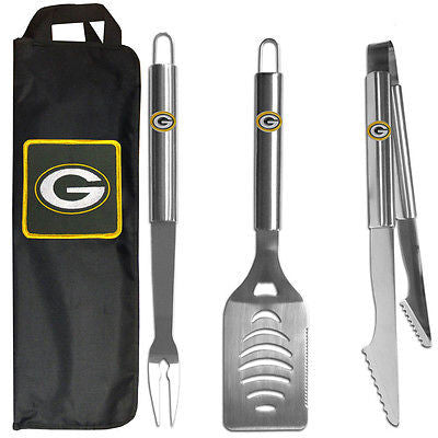 Green Bay Packers 3 Piece Stainless Steel BBQ Set with Canvas Bag (NFL)