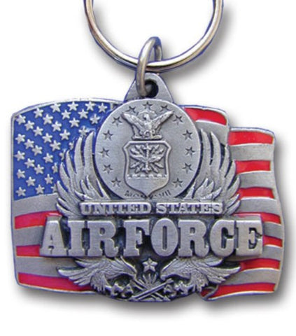 U.S. Air Force Metal Key Chain with Enameled 3-D Detail United States Flag