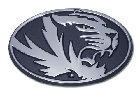 Missouri Tigers Chrome Metal Auto Emblem (Oval with Tiger) NCAA