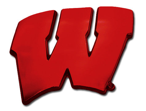 "Wisconsin Badgers Chrome Metal Auto Emblem (Red ""W"") NCAA"