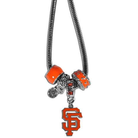San Francisco Giants Snake Chain Necklace with Euro Beads MLB Jewelry