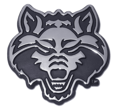 Arkansas State Red Wolves Chrome Metal Auto Emblem (Wolf) NCAA