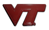 "Virginia Tech Hokies Chrome Metal Auto Emblem (Maroon ""VT"") NCAA"