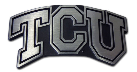"TCU Horned Frogs Chrome Metal Auto Emblem (Matte ""TCU"") NCAA"