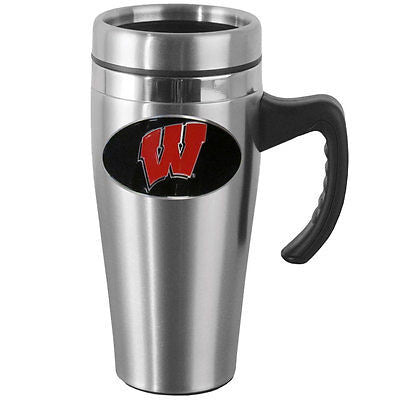 Wisconsin Badgers 14 oz Stainless Steel Travel Mug with Handle (NCAA)