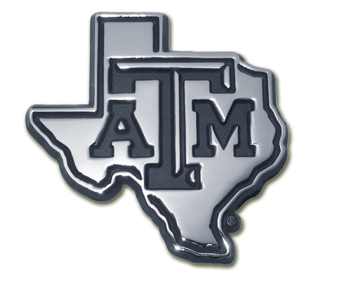 Texas A&M Aggies Chrome Metal Auto Emblem (Texas Shape) NCAA