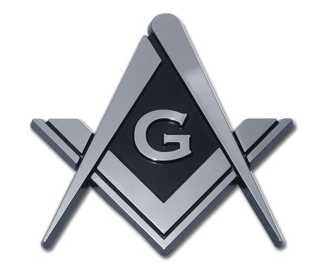 Masonic Chrome Auto Emblem (Square Compass)