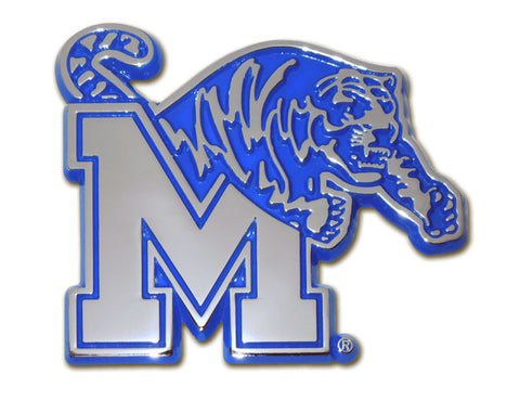 Memphis Tigers Chrome Metal Auto Emblem (Blue Outlined) NCAA