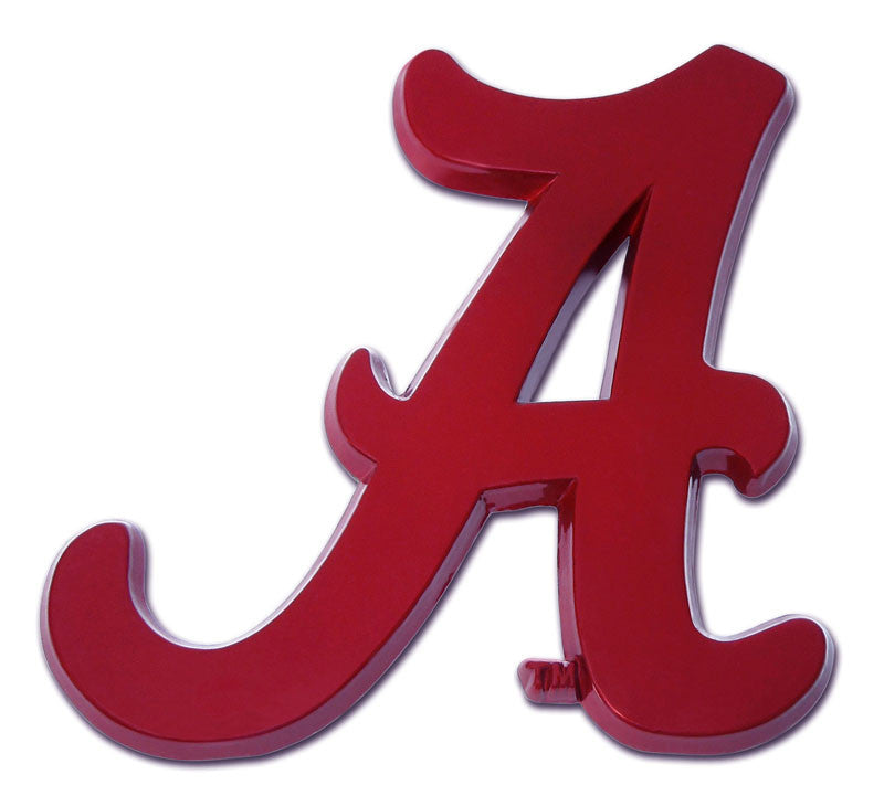 "Alabama Crimson Tide Chrome Metal Auto Emblem (Crimson Script ""A"") NCAA"