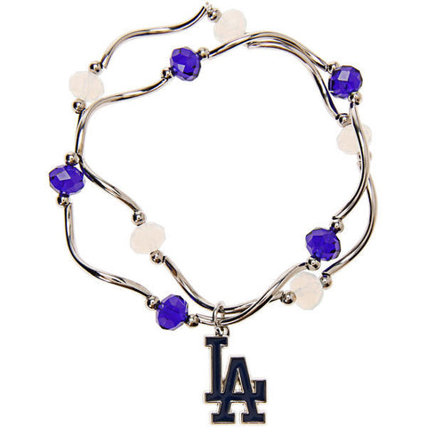 Los Angeles Dodgers Crystal Beads Bracelet Licensed MLB Baseball Jewelry