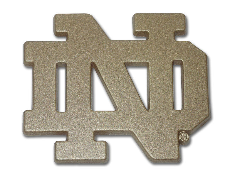 "Notre Dame Fighting Irish Chrome Metal Auto Emblem (Gold ""ND"") NCAA"