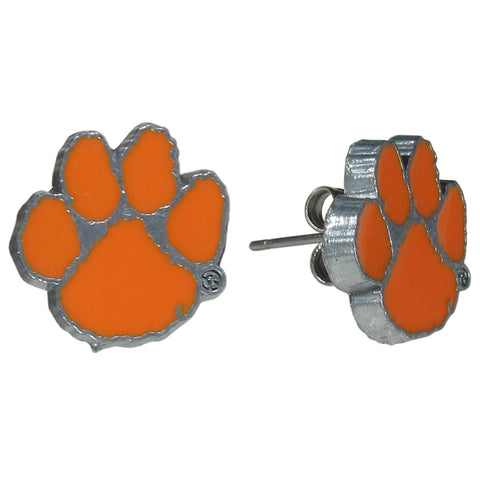 Clemson Tigers Stud Earrings (Paw Print) NCAA