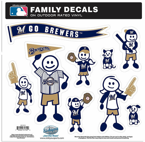 Milwaukee Brewers Outdoor Rated Vinyl Family Decals MLB Baseball