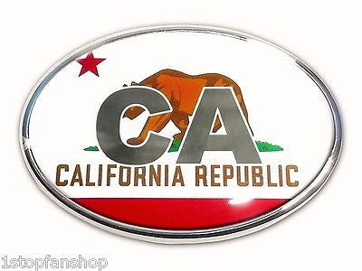 "California Republic State Flag Chrome Auto Emblem (Oval) ""CA"""