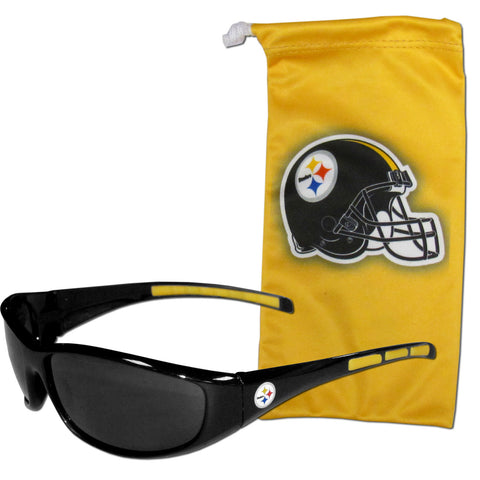 Pittsburgh Steelers Wrap Sunglasses with Microfiber Bag (NFL)
