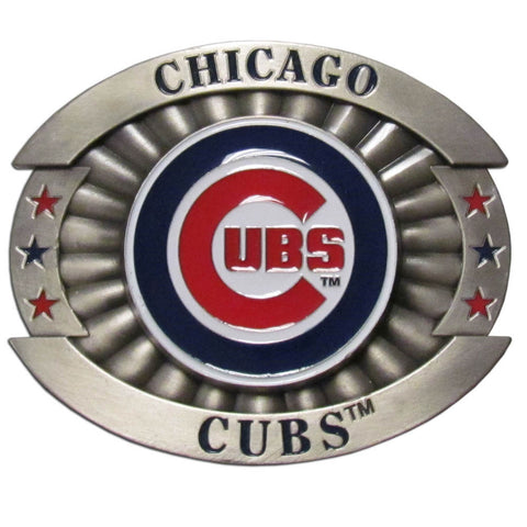 "Chicago Cubs Over-sized 4"" Pewter Metal Belt Buckle (MLB)"