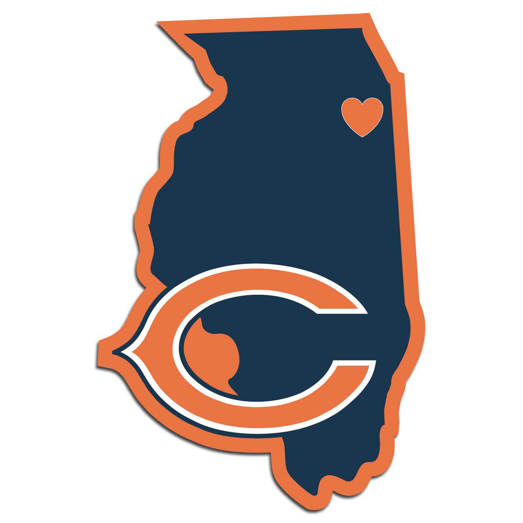 Chicago Bears Home State Vinyl Auto Decal (NFL) Illinois Shape
