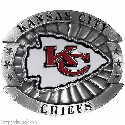 "Kansas City Chiefs Over-sized 4"" Pewter Metal Belt Buckle (NFL)"