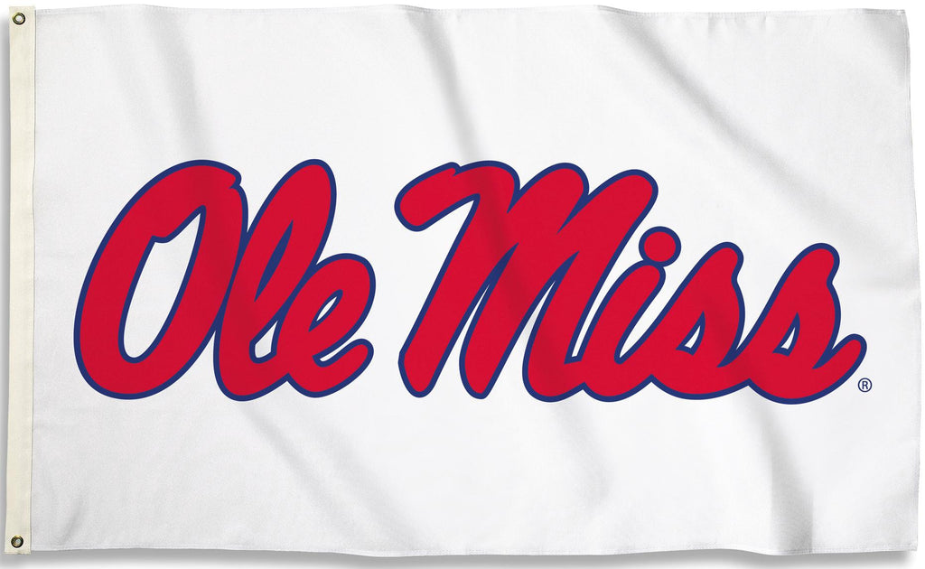 Ole Miss Rebels 3' x 5' Flag (Script Logo Only on White) NCAA