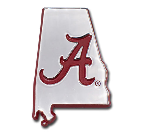 Alabama Crimson Tide Chrome Metal Auto Emblem (State Shape w/Red) NCAA