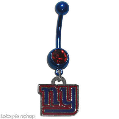 New York Giants Navel Belly Ring with Dangle Charm (Logo) NFL Jewelry