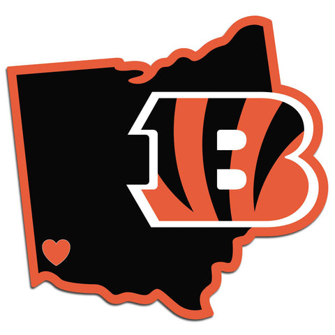 Cincinnati Bengals Home State Vinyl Auto Decal (NFL) Ohio Shape