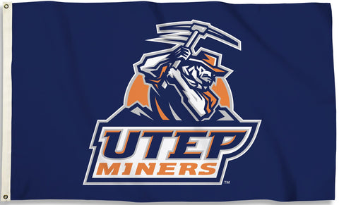 Texas El Paso UTEP Miners 3' x 5' Flag (Logo Only on Blue) NCAA