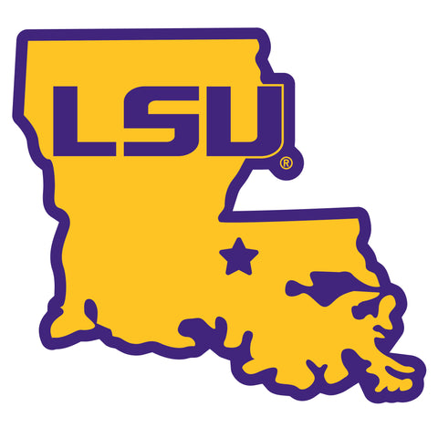 LSU Tigers Home State Magnet (NCAA) Louisiana Shape