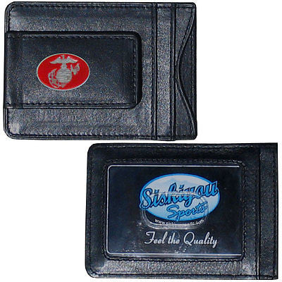 U.S. Marine Corps Fine Leather Money Clip (Military) Card & Cash Holder (Insignia)
